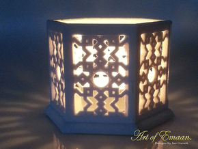 Large Islamic Geometric Candle Lantern. in Natural Sandstone