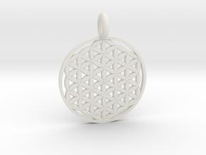 Flower of Life Pendant 22mm and 30mm in White Natural Versatile Plastic: Medium
