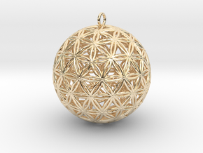 Geodesic Flower of Life Sphere in 14k Gold Plated Brass