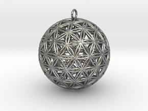 Geodesic Flower of Life Sphere in Natural Silver