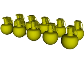 1/20 scale M-67 fragmentation grenades x 10 in Smooth Fine Detail Plastic