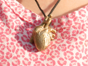 Anatomical Heart Pendant in Raw Bronze