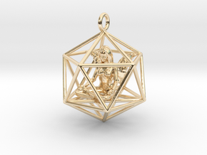 Angel in Icosahedron 35mm in 14k Gold Plated Brass