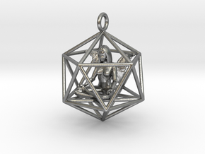 Angel in Icosahedron 35mm in Natural Silver