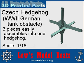 Czech Hedgehog (WWII German tank barrier) in White Natural Versatile Plastic: 1:16