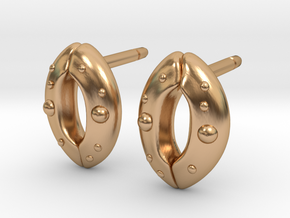 Stomata Earrings - Science Jewelry in Polished Bronze