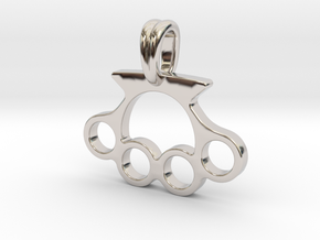 Knuckle Pendant Jewelry Symbol in Rhodium Plated Brass