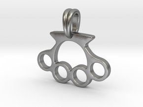 Knuckle Pendant Jewelry Symbol in Natural Silver
