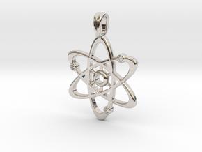 Gold Plate Atom Necklace Symbol in Platinum