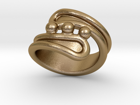 Threebubblesring 14 - Italian Size 14 in Polished Gold Steel