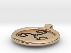 Triskell Hole Round Pendant in 14k Rose Gold