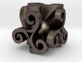 Triskell Cube With Rope Ring in Polished Bronzed Silver Steel