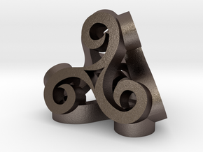 Tetra Triskell in Polished Bronzed Silver Steel