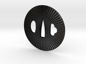 Tsuba solid kiku in Matte Black Steel