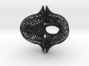 Borromean honeycomb moebius small in Black Premium Versatile Plastic