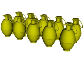 1/15 scale M-26 fragmentation grenades x 10 in Smooth Fine Detail Plastic