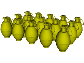 1/20 scale M-26 fragmentation grenades x 15 in Smooth Fine Detail Plastic