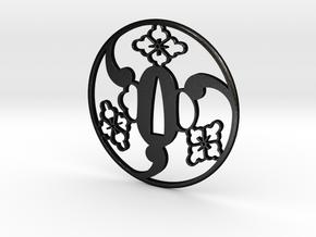 Tsuba mitsudomoe  7.5 x 7.5 x 0.35 cm in Matte Black Steel