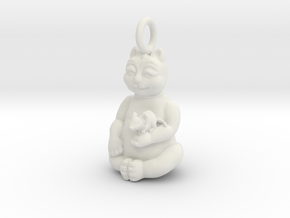 Cat and Mouse Buddha in White Natural Versatile Plastic