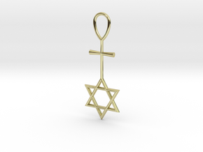 Davidstar_Christ_Ankh_cross in 18k Gold Plated Brass
