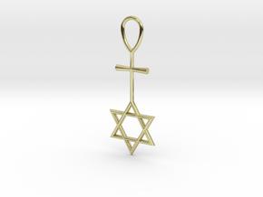 Davidstar_Christ_Ankh_cross in 18k Gold Plated Brass