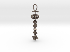 Full_Cosmic_Energy_pendant_close_BIG in Polished Bronzed-Silver Steel