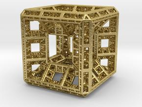 Fractal Hypercube Pendant in Natural Brass