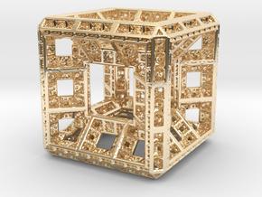 Fractal Hypercube Pendant in 14k Gold Plated Brass