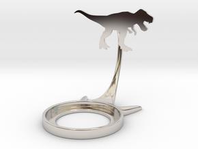 Dinosaur Tyrannosaurus in Rhodium Plated Brass