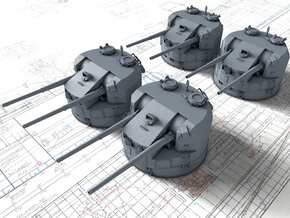 "1/144 5.25""/50 (13.4 cm) QF Mark I Guns 1943 x4 in Smooth Fine Detail Plastic"