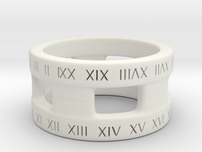 A Roman Numeral Ring in White Natural Versatile Plastic: 1.5 / 40.5