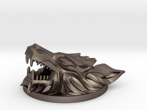 FF7 Fenrir Medallion in Polished Bronzed-Silver Steel: Large