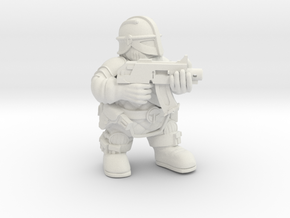 Space Dwarf Warrior 1 in White Natural Versatile Plastic