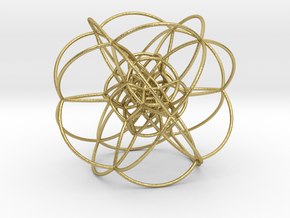 Rectified 24-Cell, Stereographic Projection in Natural Brass