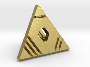D4 - Stripes: 4-sided die in Natural Brass