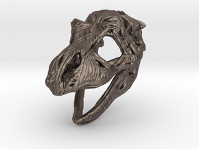 TRexSkull Pendant in Polished Bronzed-Silver Steel
