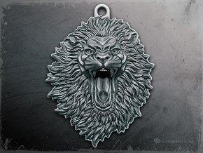 Roaring Lion face relief. Pendant 5cm in Antique Silver