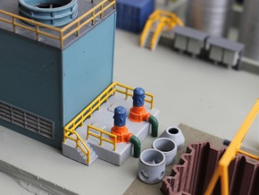 N Scale Cooling Pump Station w railings in Smooth Fine Detail Plastic
