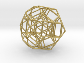 Rectified 24-cell, orthographic projection  in Natural Brass