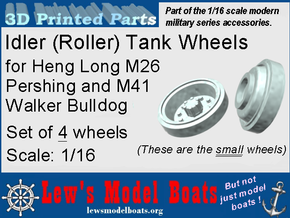 M26 Pershing (Heng Long) Idler-wheels in White Natural Versatile Plastic: 1:16