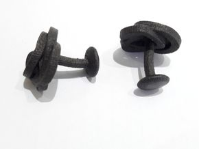 Air and water Cufflinks  in Matte Black Steel