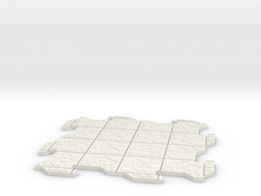 Large Multi Way Dungeon Tile in White Natural Versatile Plastic