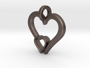 Heart Pendant in Polished Bronzed-Silver Steel: Small