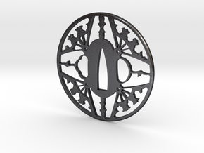 Tsuba-fans-print in Polished and Bronzed Black Steel