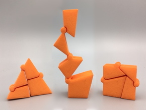 Hinged Triangle-Square in Orange Processed Versatile Plastic