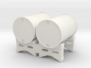 55 gal 2 Drum Stack O scale in White Natural Versatile Plastic