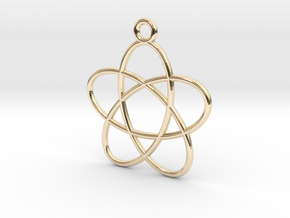 Spirograph Flower Pendant, 5 Petals in 14K Yellow Gold
