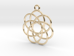 Spirograph Flower Pendant, 7 Petals in 14K Yellow Gold