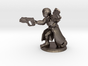 Cyberpunk Gunslinger (28mm Scale Miniature) in Polished Bronzed-Silver Steel