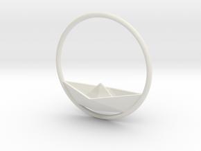 paper Boat ornament in White Natural Versatile Plastic